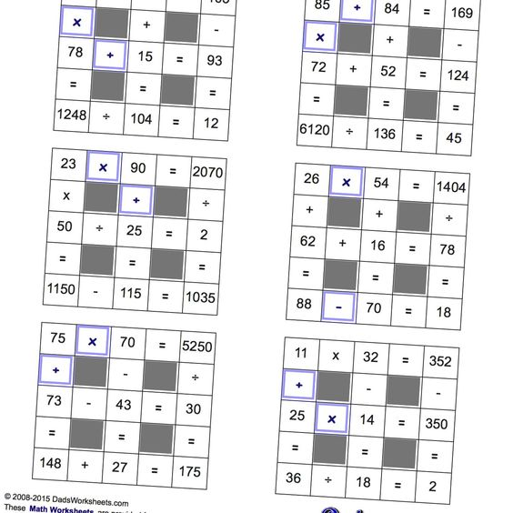 Math Worksheets: All Operations Grid Puzzles with Missing