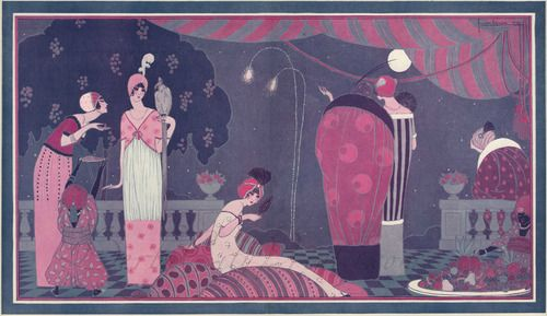 """Lepape's illustration 'La fete Persane', most likely Paul and Denise Poiret's """"The Thousand and Second Night"""" party, 1912"""
