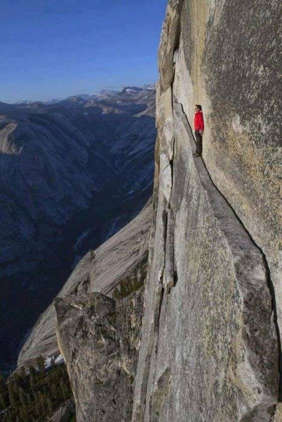 The 'Thank God Ledge' Yosemite National Park, California, USA.You need his help walking this ledge: