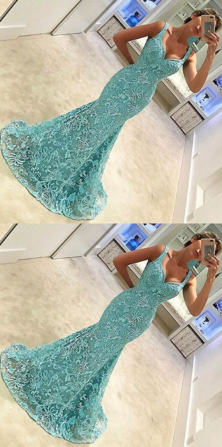 Aqua is an amazing color for mermaid prom dresses!