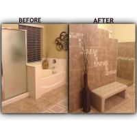 Bathroom remodel. Tiled walk in shower with no door ...
