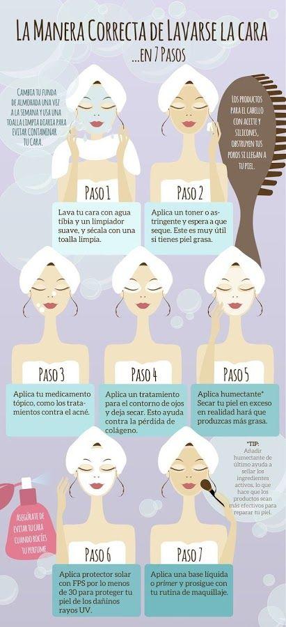 Resultado de imagen de cuidado facial diario infografia