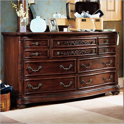 Lea Jessica McClintock Heirloom 7 Drawer Double Dresser with Dark Cherry Wood Finish  lea
