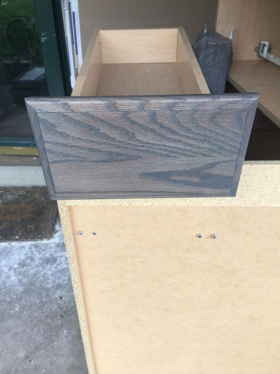 "Lowes Unfinished Oak Kitchen Cabinets First Coat Of The Minwax Clear Tint Base ""charcoal Grey"