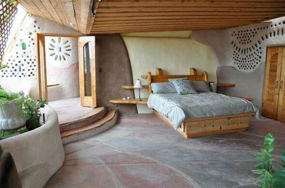Bedroom 1 (?)  Earthship  Pinterest Bedrooms