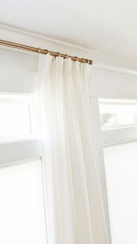 Pleated curtains, White curtains and Brass curtain rods on ...