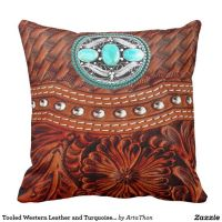 Tooled Western Leather and Turquoise Medallion Throw ...