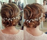 updo wedding and messy waves