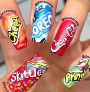 cute fun fake food nails