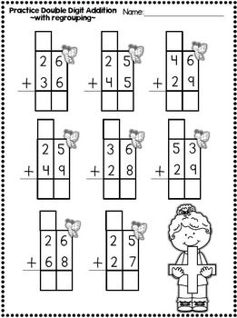 2 Digit Addition With Regrouping Worksheets With Boxes