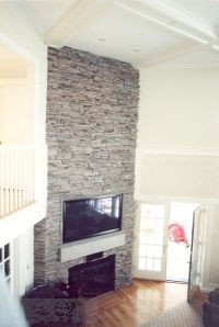 Family room with bead board wainscotting, coffered ceiling ...