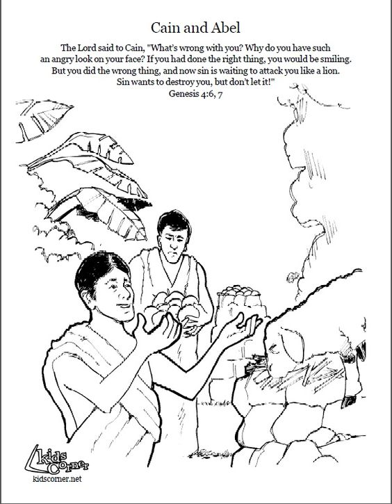 Cain and Abel. Coloring page, script and Bible story. http