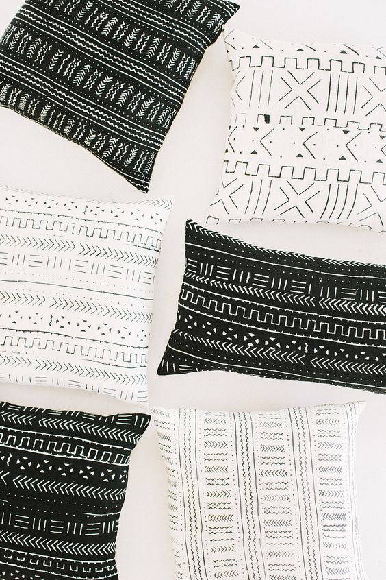 Mud cloth pillows from loomgoods.com: