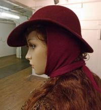 Vintage Retro Burgundy Wool Felt Womens Brimmed Hat with