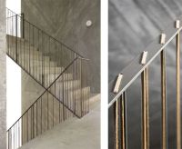 A steel railing laced with thin leather strips in the Casa