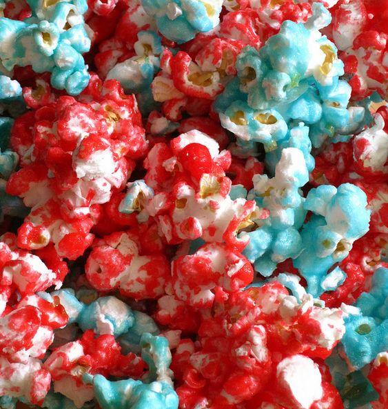 Aqua and Red popcorn: