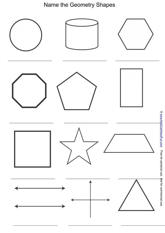 Name the Geometry Shapes and Symbols Worksheet http://www