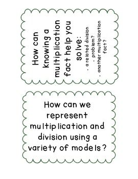 Multiplication and division, Essential questions and