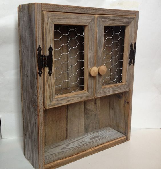 Rustic cabinet Reclaimed wood shelf Chicken wire decor