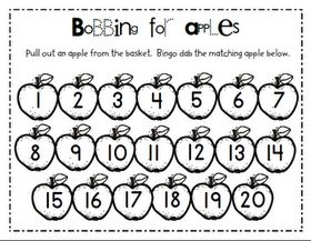 Pull out an apple from the basket. Bingo dot the matching