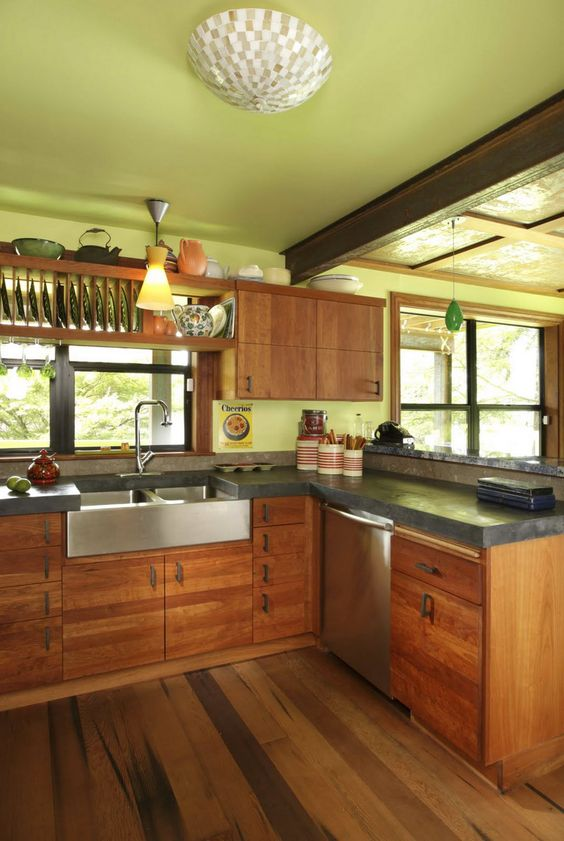 farm sinks for kitchens island kitchen ikea concrete countertops, countertops and wood cabinets on ...