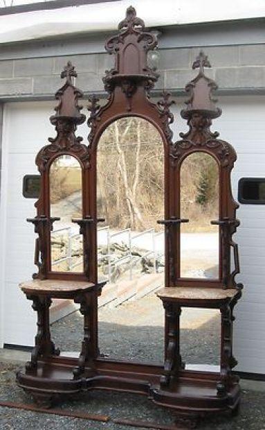 Victorian Walnut Entry Hall Mirror: