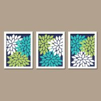 Wall Art Canvas Artwork Turquoise Navy Blue Lime Green ...