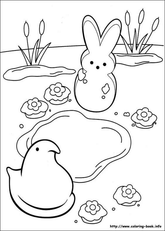 marshmallow peeps coloring picture  coloring pages