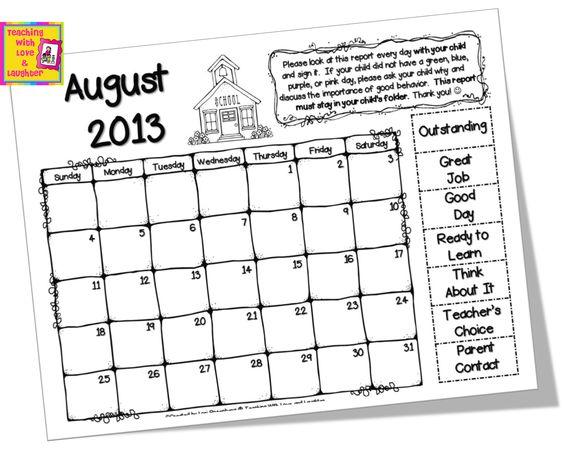 Editable Behavior Calendars for Clip Chart {Weekends