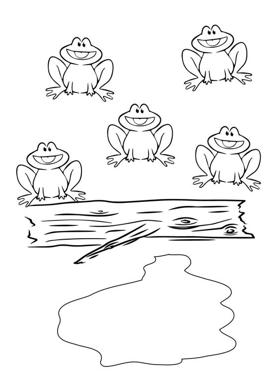 Five Little Speckled Frogs coloring picture for kids