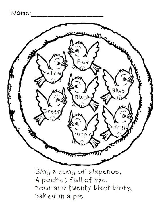 Sing a Song of Sixpence Color by word page #preschool #