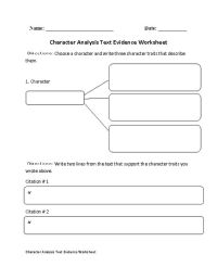 Character Analysis Text Evidence Worksheet | Englishlinx ...