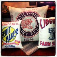 Recycled feed sack pillows | Repurposed Recycle Reuse ...