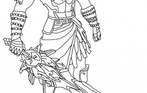 Draw God Of War Game Coloring Page