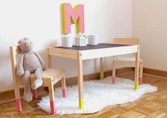 Friday Finds Here we take a look at 9 different IKEA hacks to help you pimp up the IKEA LATT children's table and chair set.: