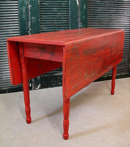 Antique Primitive Red Painted Farm Drop Leaf Table Drop