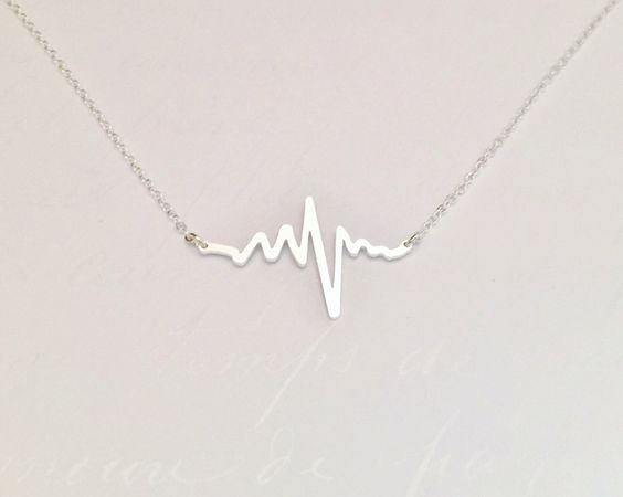 Electrocardiogram EKG Rhythm Sterling Silver Heart Beat
