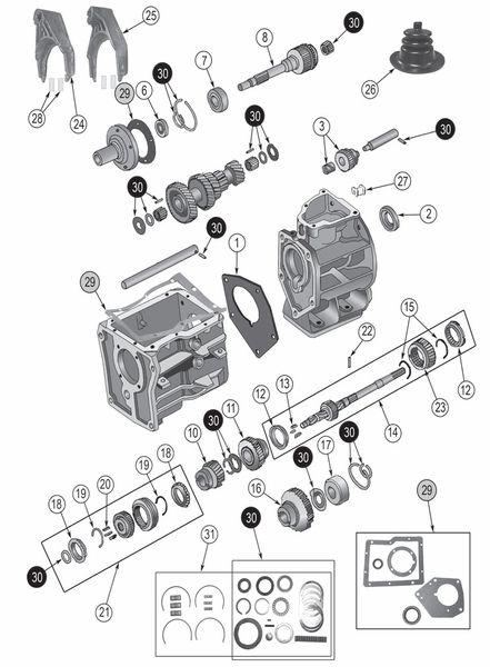 Transmission Borg-Warner SR4 Exploded View Diagram The