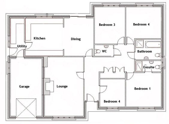 Wondrous 4 Bedroom Dormer Bungalow Plans Uk Bedroom Style Ideas Inspirational Interior Design Netriciaus