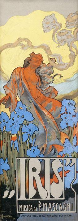 Adolfo Hohenstein poster: Iris (sheet music price list):