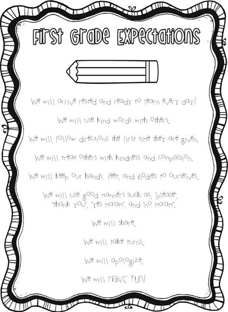 1st Grade Expectations and lots of other helpful handouts