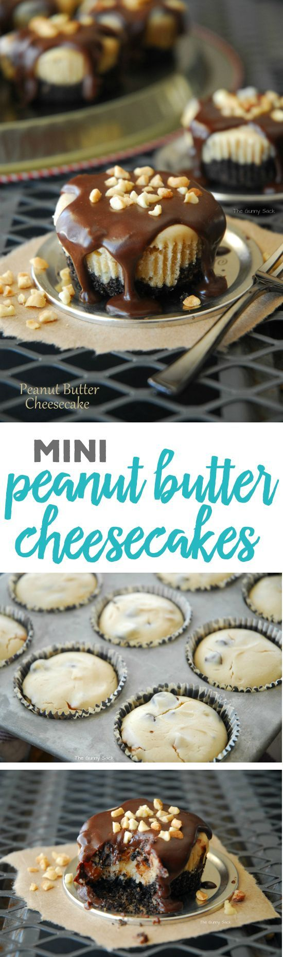 Mini Peanut Butter Cheesecakes Individual Servings Recipe via the Gunny Sack - These mini peanut butter cheesecakes drizzled with chocolate and sprinkled with chopped peanuts are a lot of goodness packed into a muffin sized dessert! With a peanut butter Oreo crust, this easy cheesecake recipe is delicious from top to bottom.