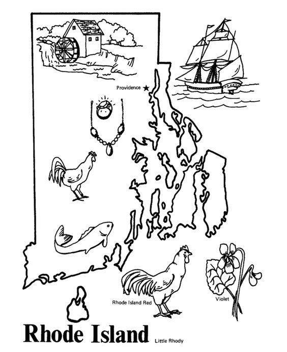 Rhode island, Coloring pages and Coloring on Pinterest