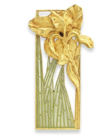 René Lalique. 1900 signed Pair of Enamel and Gold Plaques. Each is an openwork rectangular gold panel framing a sculpted gold iris w/gold stem and bluish green plique-à-jour enamel leaves, mounted in gold.: