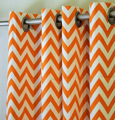 Orange And White Chevron Curtains ▻White U0026 Orange Pinterest