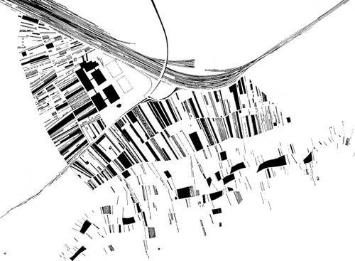 figure-ground study drawing for the vitra firestation by