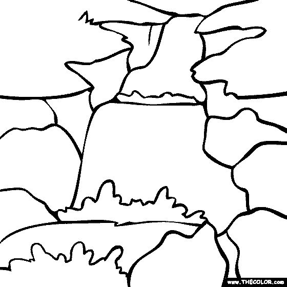 Waterfall River And Forest Coloring Page
