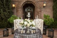 Sweetheart table, Tufted chair and Tablecloths on Pinterest