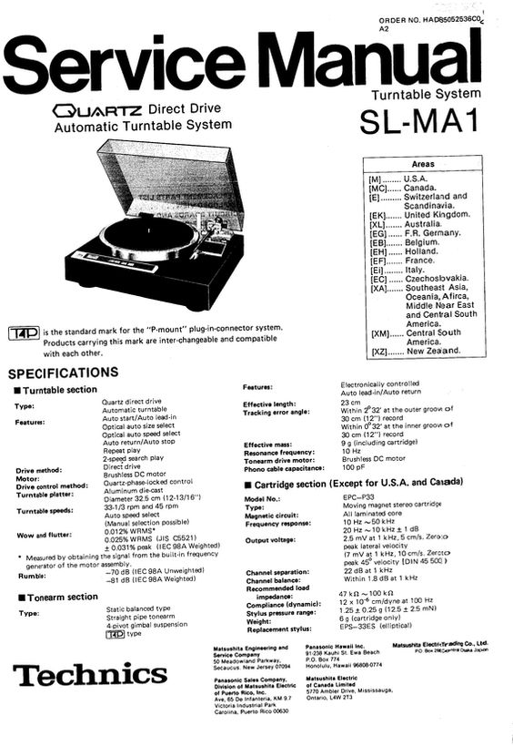 Technics SL-MA1 Turntable , Service Manual * PDF format