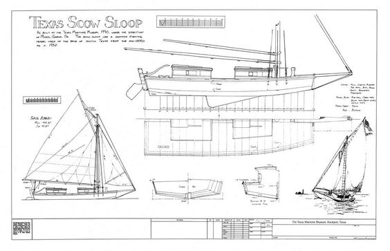 Plans for a gaff-rigged Texas Scow sloop. I think a